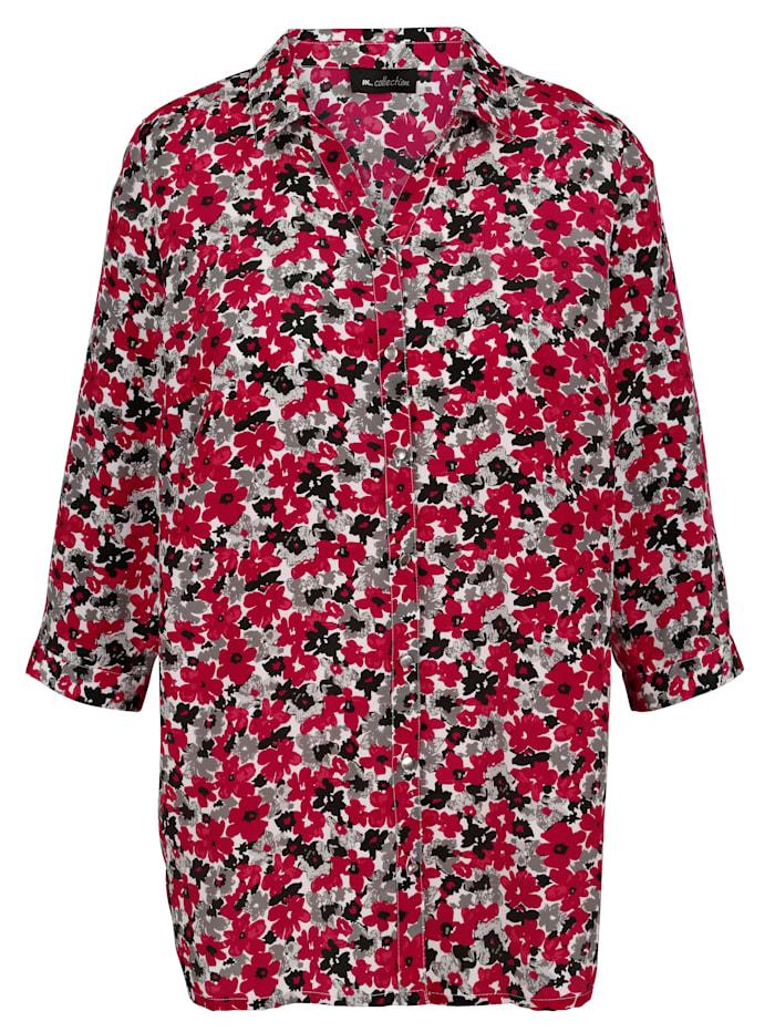 Bluse mit schönem Blumendruck-Muster rundum