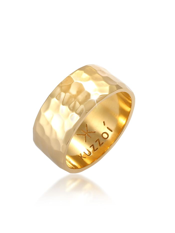 Kuzzoi Ring Herren Bandring Gehämmert 925 Sterling Silber, Gold