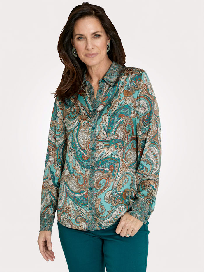 MONA Blouse made from smooth satin, Mint/Petrol