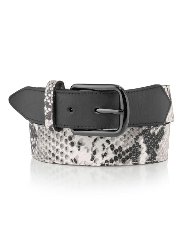 Alba Moda Gürtel mit Schlangenprägung, schwarz/weiß