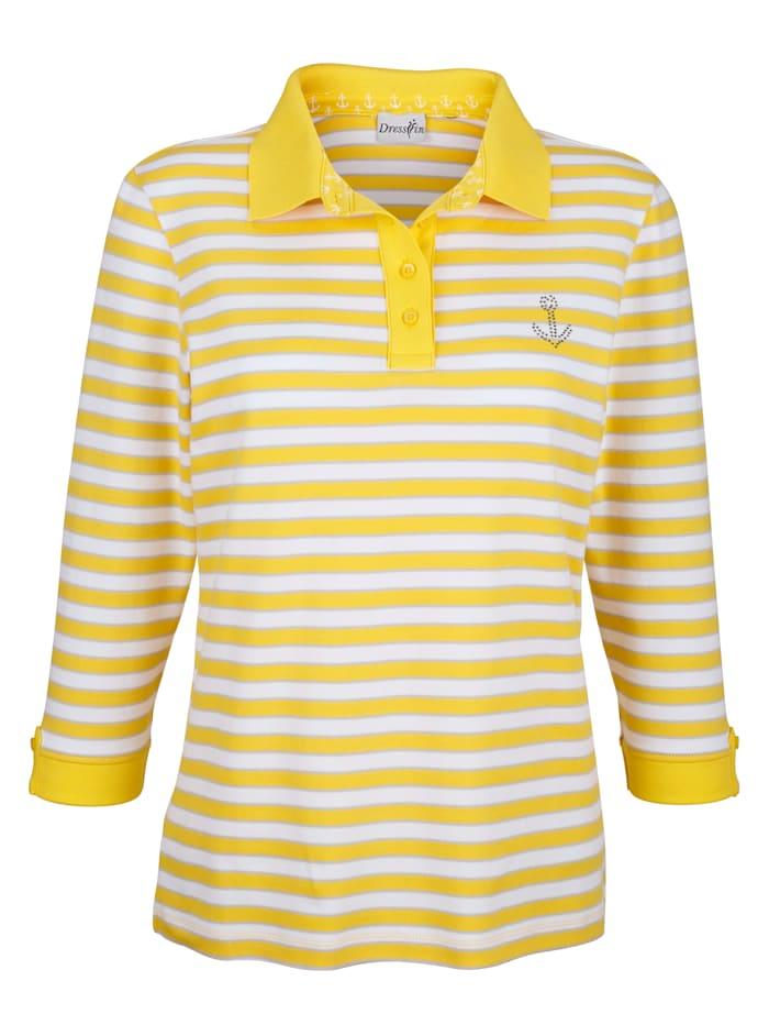 Dress In Poloshirt in Streifenoptik, Gelb