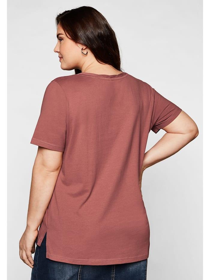 Sheego T-Shirt mit dekorativem Rundhalsausschnitt