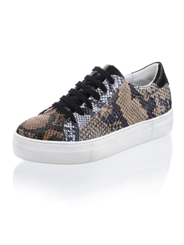 Alba Moda Sneaker in allover Print, Braun