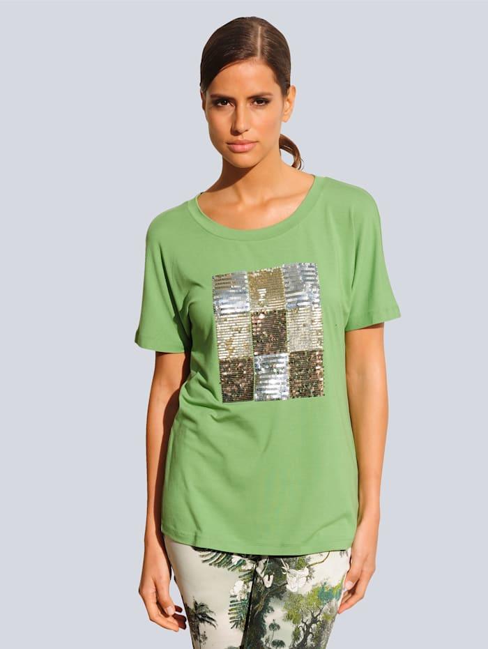 Alba Moda Strandshirt mit Pailletten, Grün