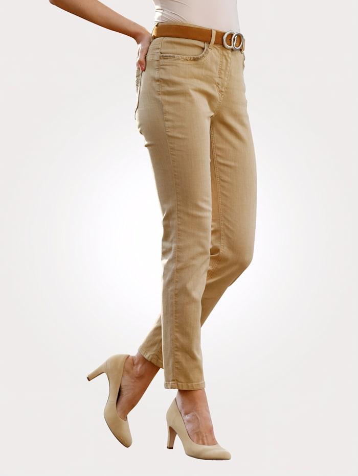 MONA Pantalon à effet délavé mode, Beige