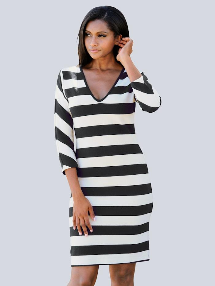 Alba Moda Strandkleid aus Rippware, Schwarz-Weiss