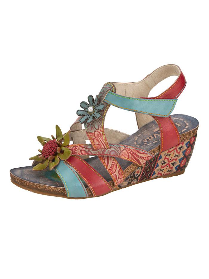 Laura Vita Keilsandale mit Blütenapplikation, Multicolor