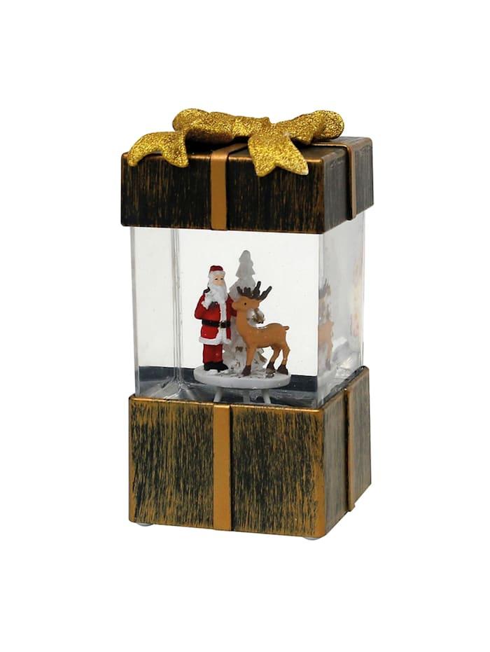 Sigro LED Geschenkbox mit Weihnachtsmann, Gold