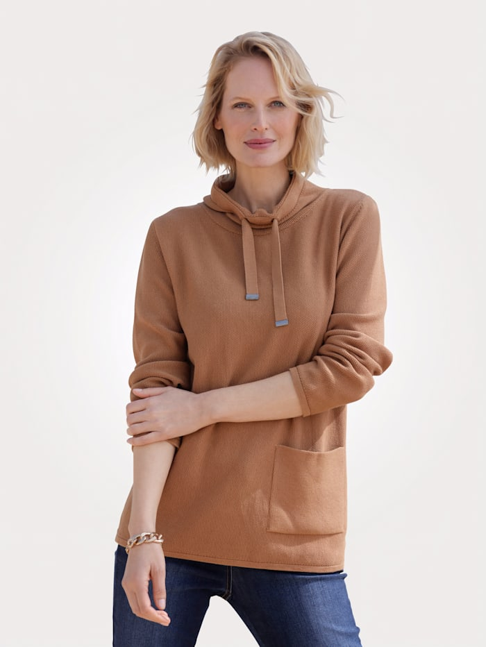 MONA Jumper made from pure cotton, Caramel