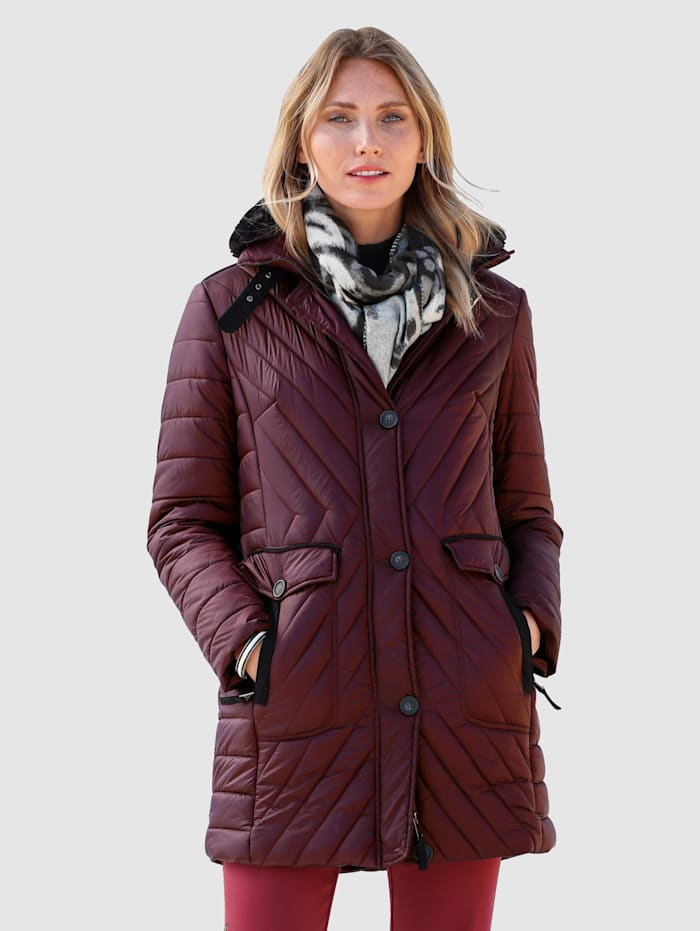 MONA Gewatteerde jas met afneembaar imitatiebont, Bordeaux/Zwart