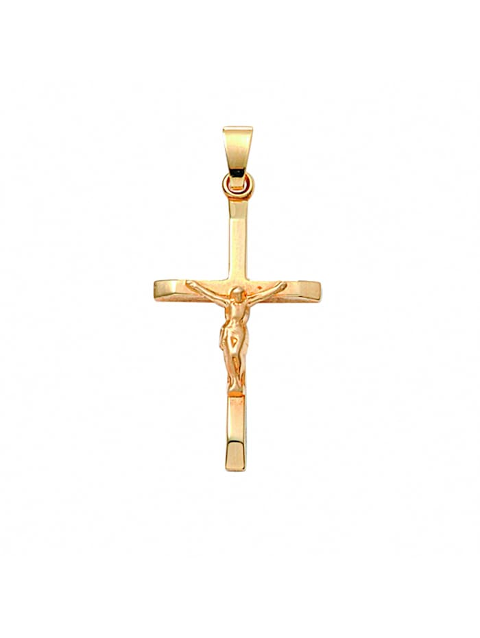 1001 Diamonds Damen & Herren Goldschmuck 585 Gold Kreuz Anhänger Korpus, gold