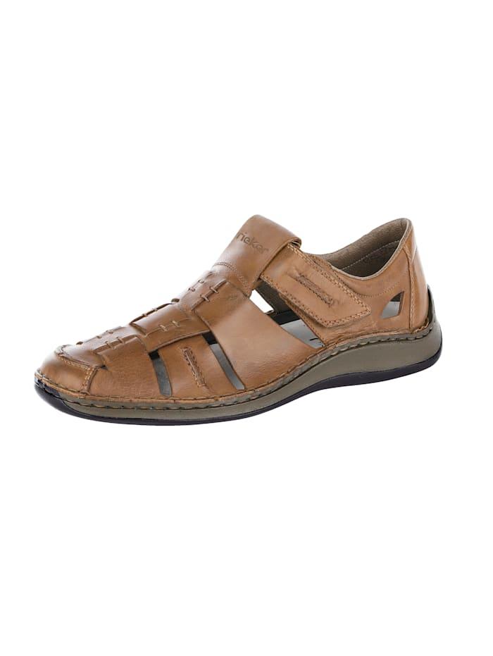 Rieker Sandale mit sommerlich luftigen Durchbrüchen, Braun
