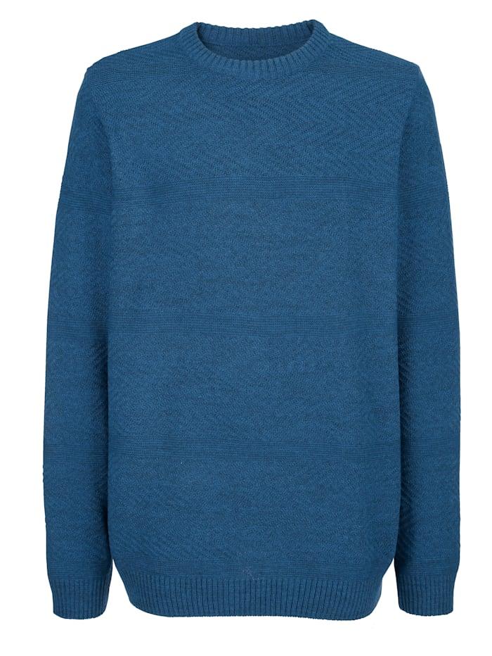 Roger Kent Tröja med stickat mönster, Jeansblå