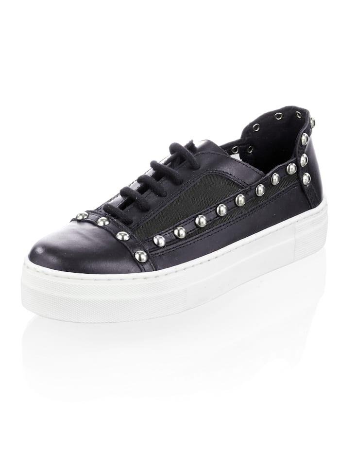 Alba Moda Sneaker aus Kalbsleder, Schwarz