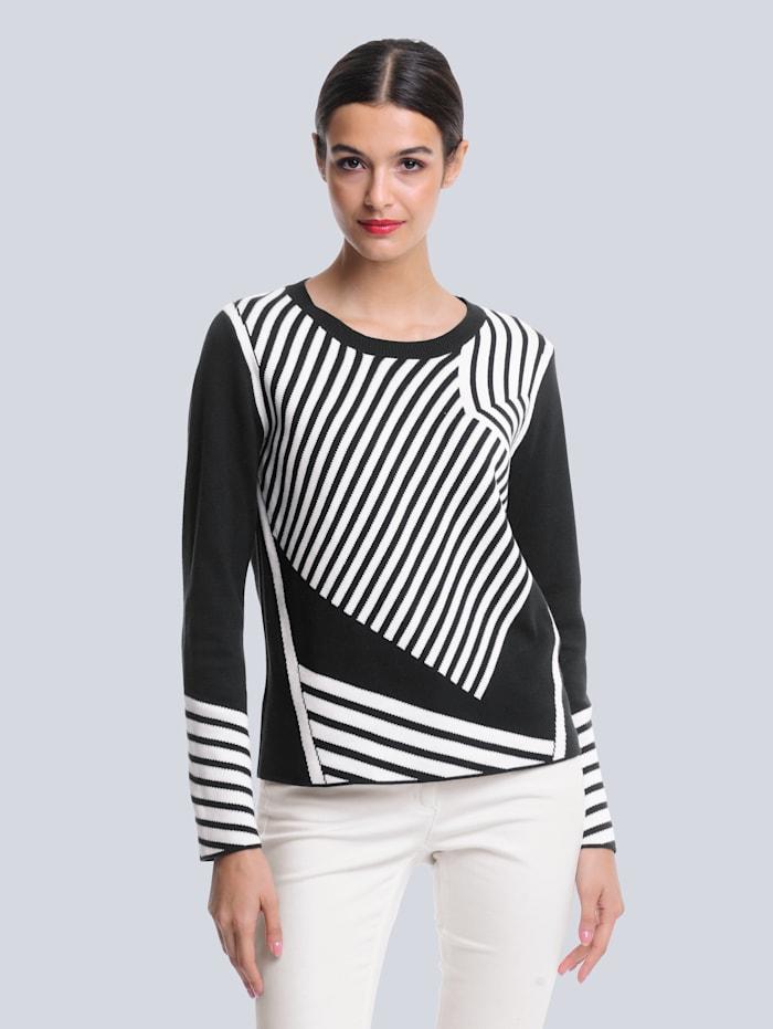 Alba Moda Pullover im grafischen Jacquardstrick, Schwarz/Off-white