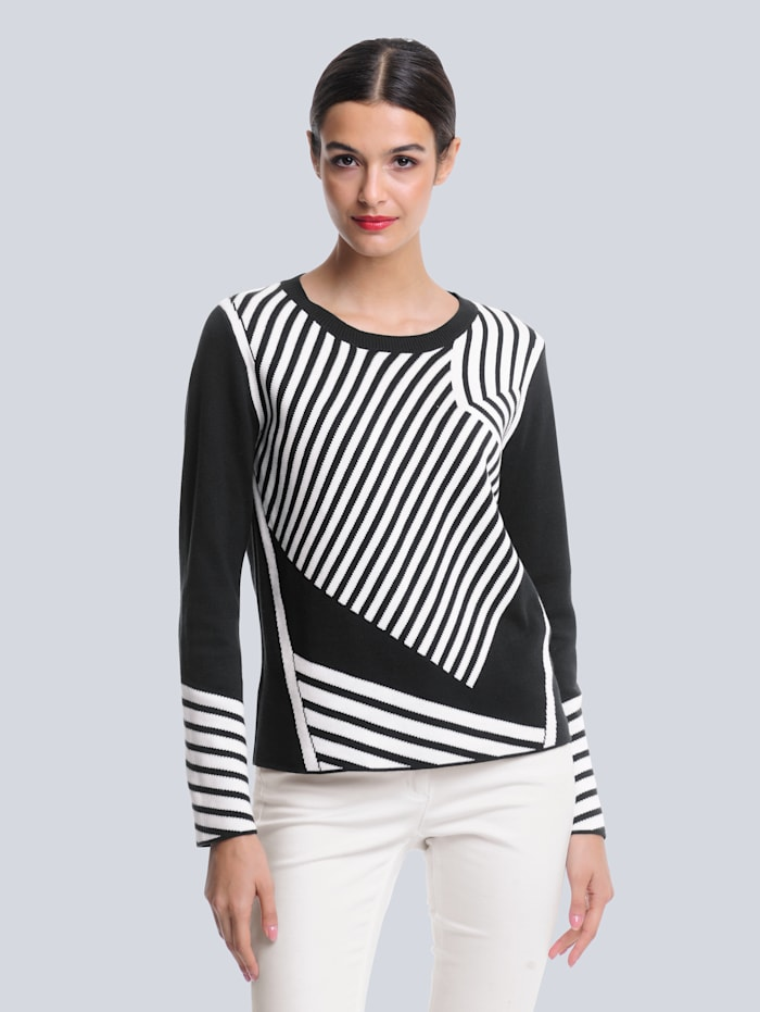 Alba Moda Pulovr s grafickým žakárovým pletením, Černá/Přírodní bílá
