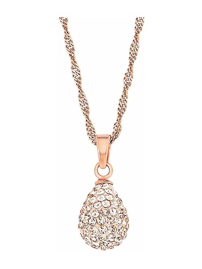 amor Kette mit Anhänger für Damen, Sterling Silber 925, Kristallglas Tropfen, Apricot