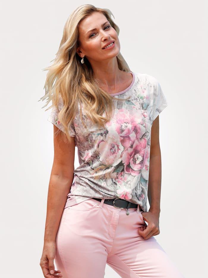 MONA Shirt van een materialenmix, Roze/Grijs