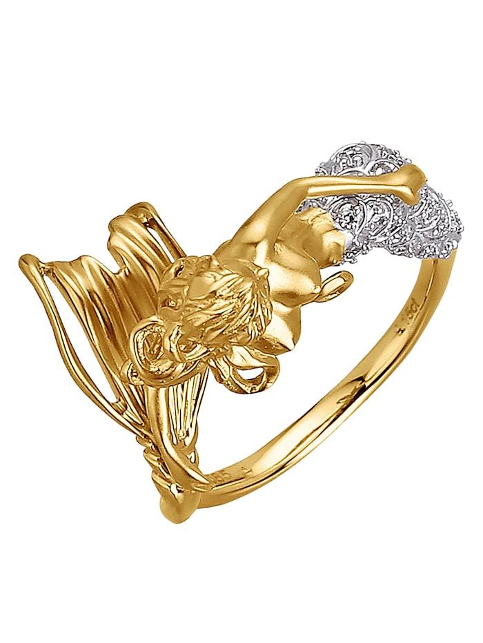 Diemer Atelier Ring Zeemeermin met diamanten, Geel