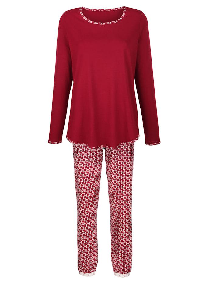 Simone Schlafanzug mit niedlichen Ellenbogen-Patches, Bordeaux/Ecru