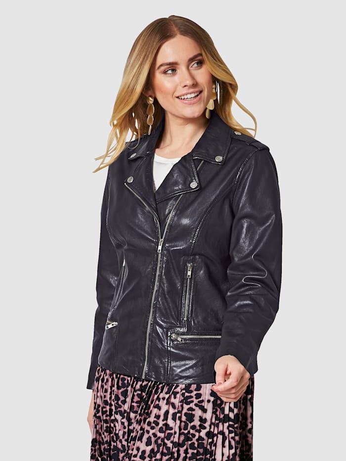 Sara Lindholm Kožená bunda v Biker strihu, Čierna