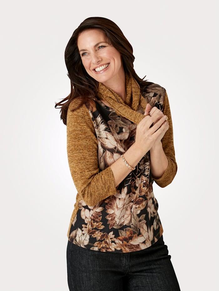 MONA T-shirt et écharpe avec écharpe tendance, Ocre/Marron
