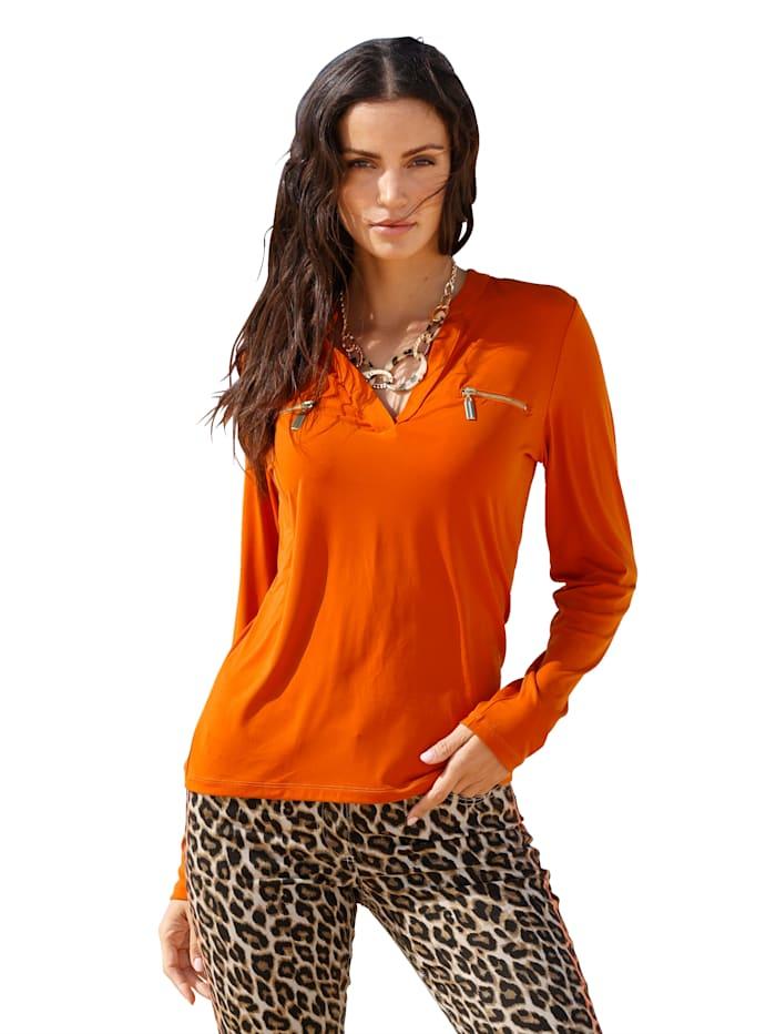 AMY VERMONT Shirt mit dekorativen Reißverschlüssen, Orange