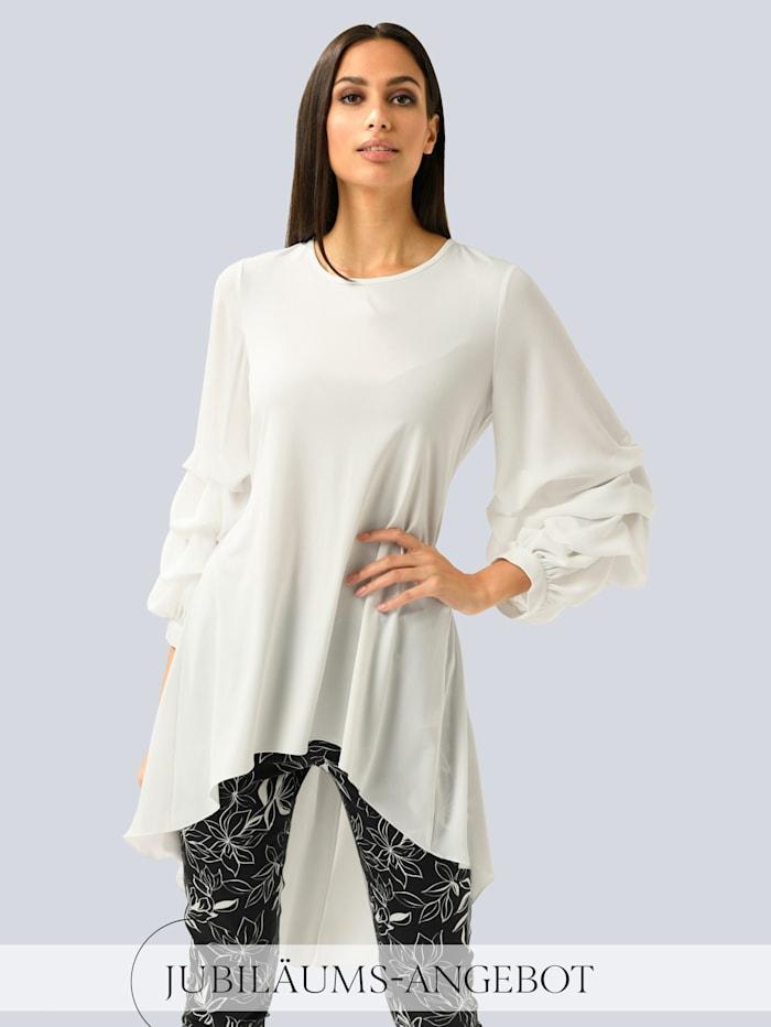 Alba Moda Bluse mit Raffungen an den Ärmeln, Weiß