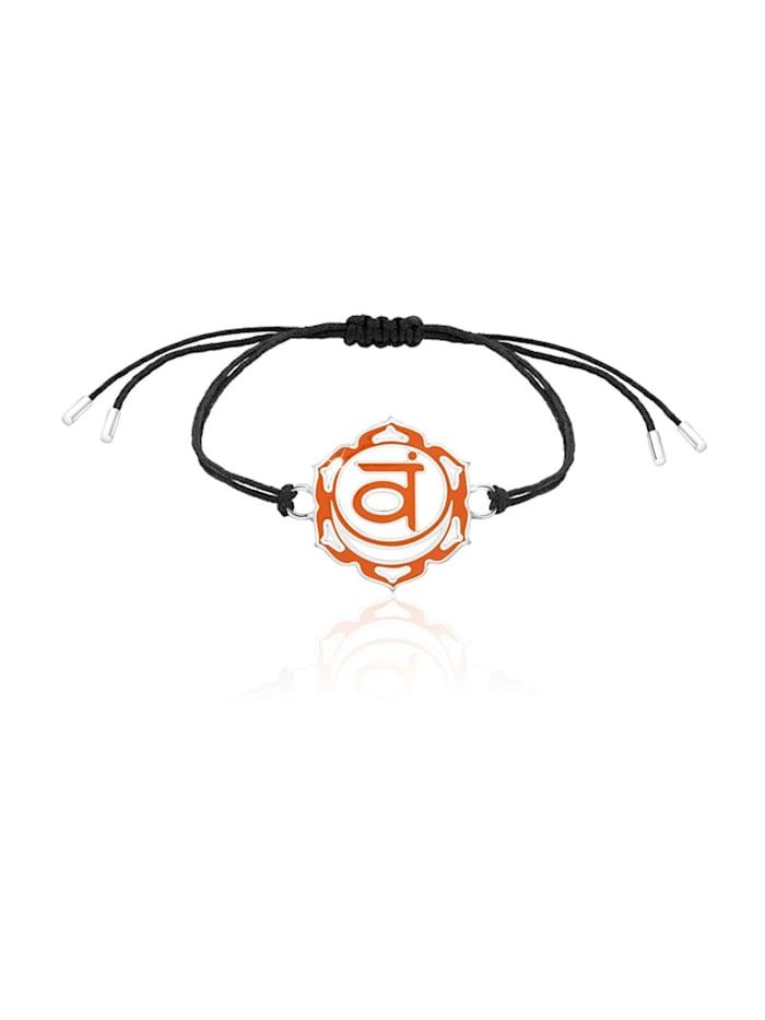 Nenalina Armband Sakral Swadhistana Chakra Emaille 925Er Silber, Orange
