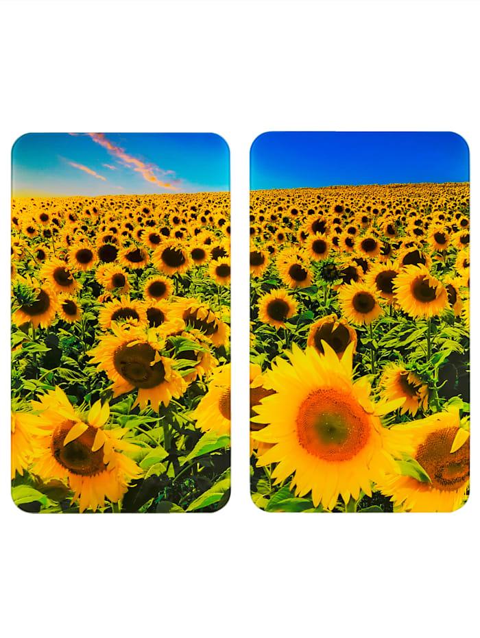 "Wenko 2er-Set Herdabdeckplatten ""Sonnenblumenfeld"", Multicolor"