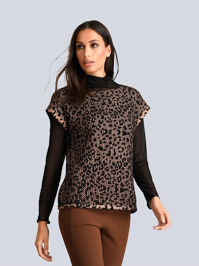Alba Moda Pullover im leicht verfremdetetn Animal Dessin, Kupferfarben/Schwarz