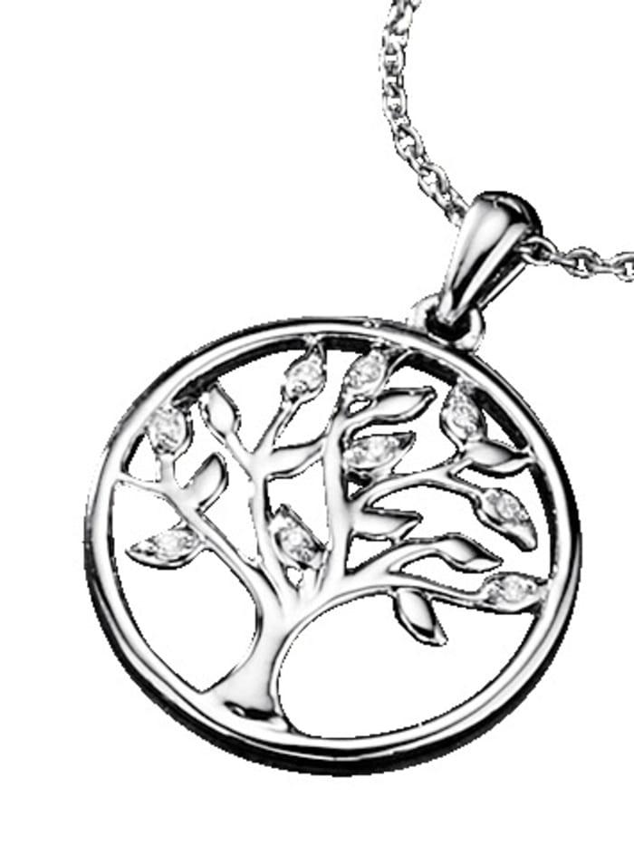 Diemer Platin Lebensbaum-Anhänger mit Diamanten, Weiß