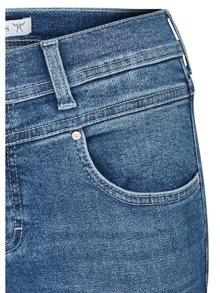 Jeans 'Ornella Button Fringe' mit Fransen an den Beinsäumen
