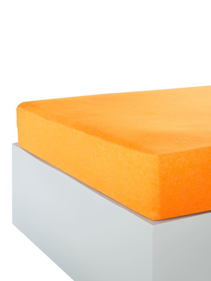 Webschatz Biber Betttuch / Spannbettlaken 2er-Set, apricot