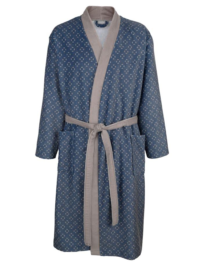 Badjas uit de 'Cotton made in Africa'-collectie, Blauw/Grijs