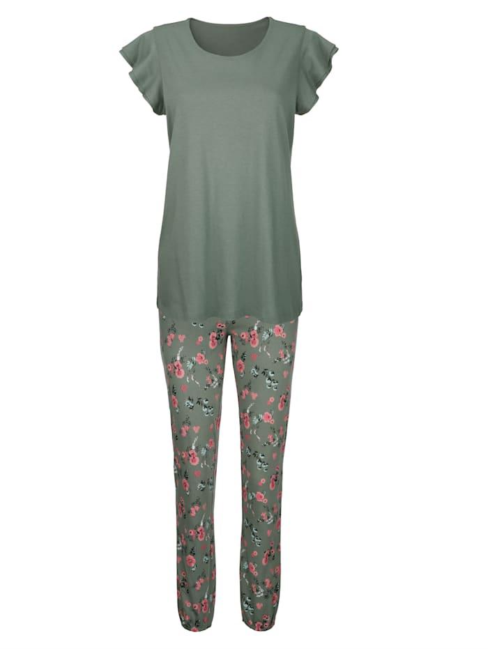 Simone Pyjama met romantische vlindermouwtjes, olijf/koraal/ecru