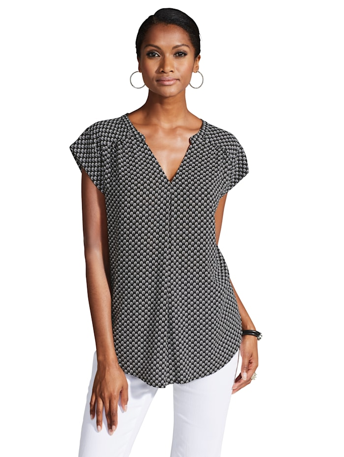 Alba Moda Blouse met minimaldessin en licht getailleerd model, Zwart/Wit