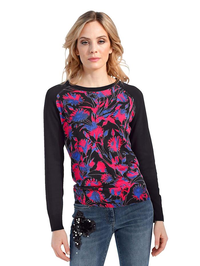 AMY VERMONT Pullover mit bedrucktem Vorder- und Rückteil, Schwarz/Pink/Blau