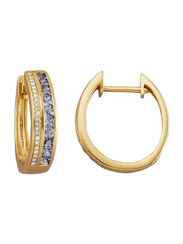 Amara Pierres colorées Créoles en or jaune 585, Bleu
