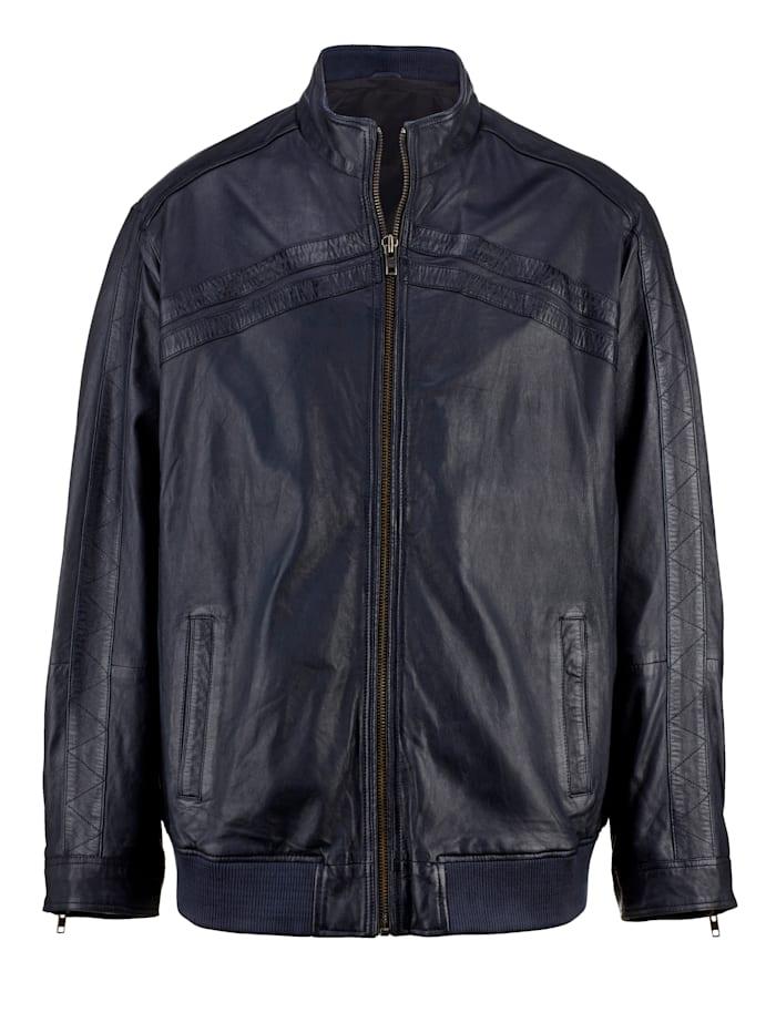 Men Plus Kožená bunda so stojatým golierom, Námornícka