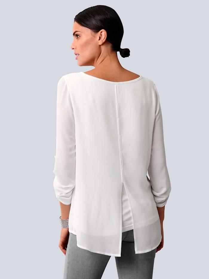 Bluse mit eingesetzter Blende aus Spitze