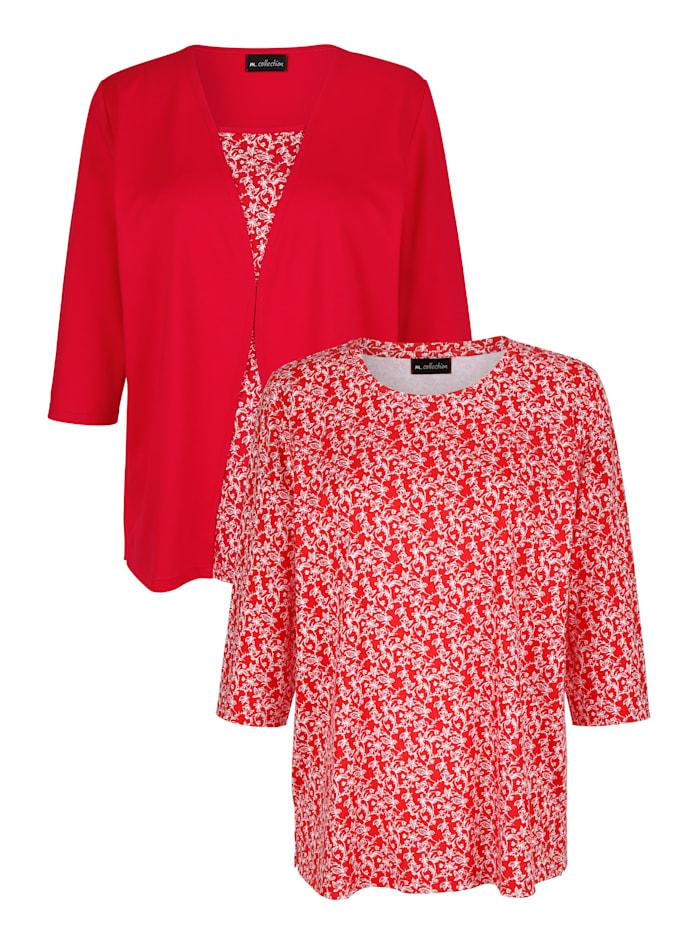 m. collection Shirts im 2er-Pack 1x floral und 1x uni mit floralem Einsatz, Rot/Weiß