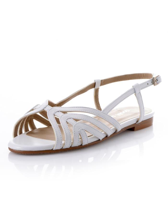 Alba Moda Sandalette aus weichem Leder, Weiß