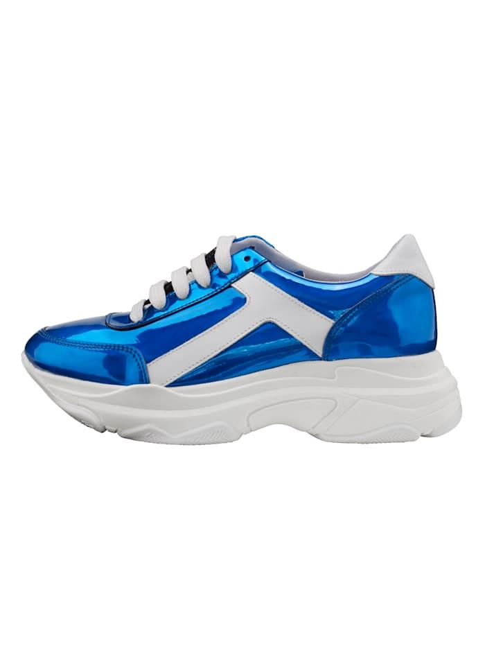 Sneakers à plateau à effet métallisé mode
