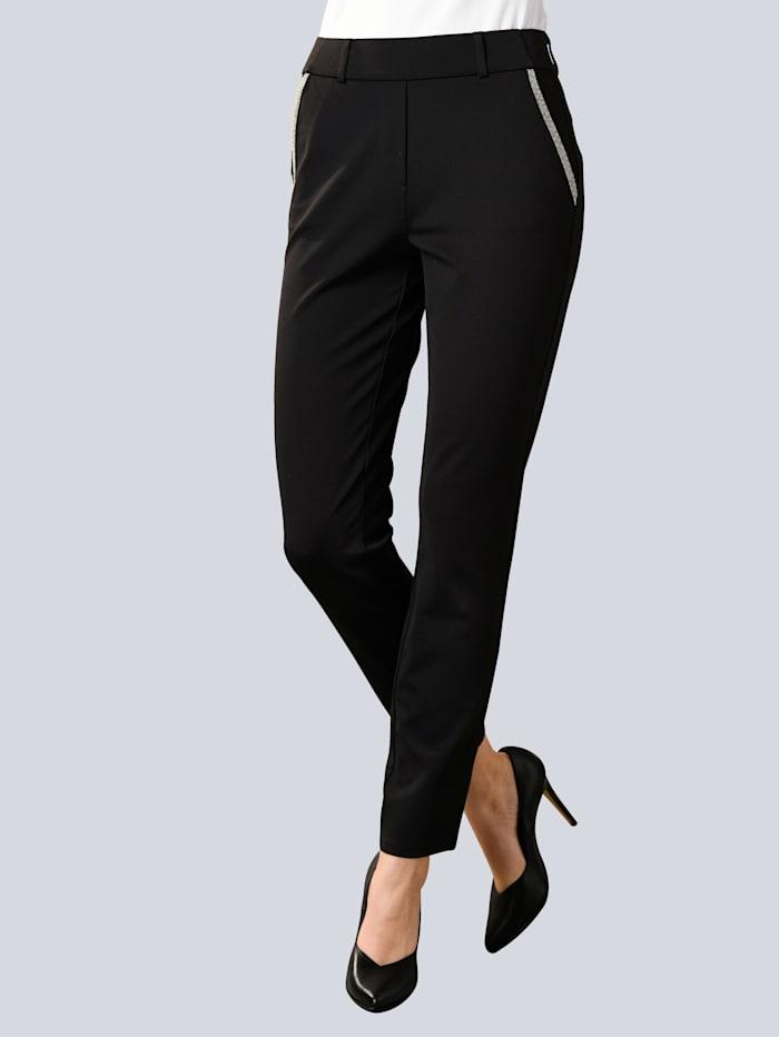 Alba Moda Pantalon avec pierres fantaisie aux poches, Noir