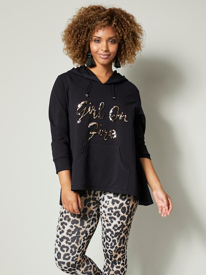 Angel of Style Sweatshirt mit Paillettenschriftzug, Schwarz/Goldfarben