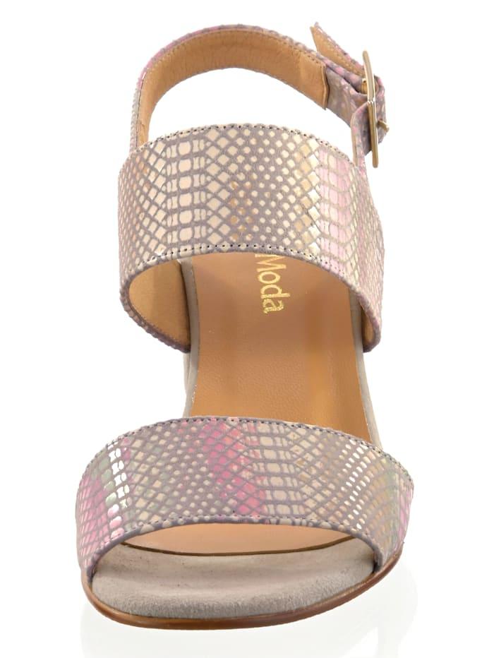 Sandalette mit Reptilmuster