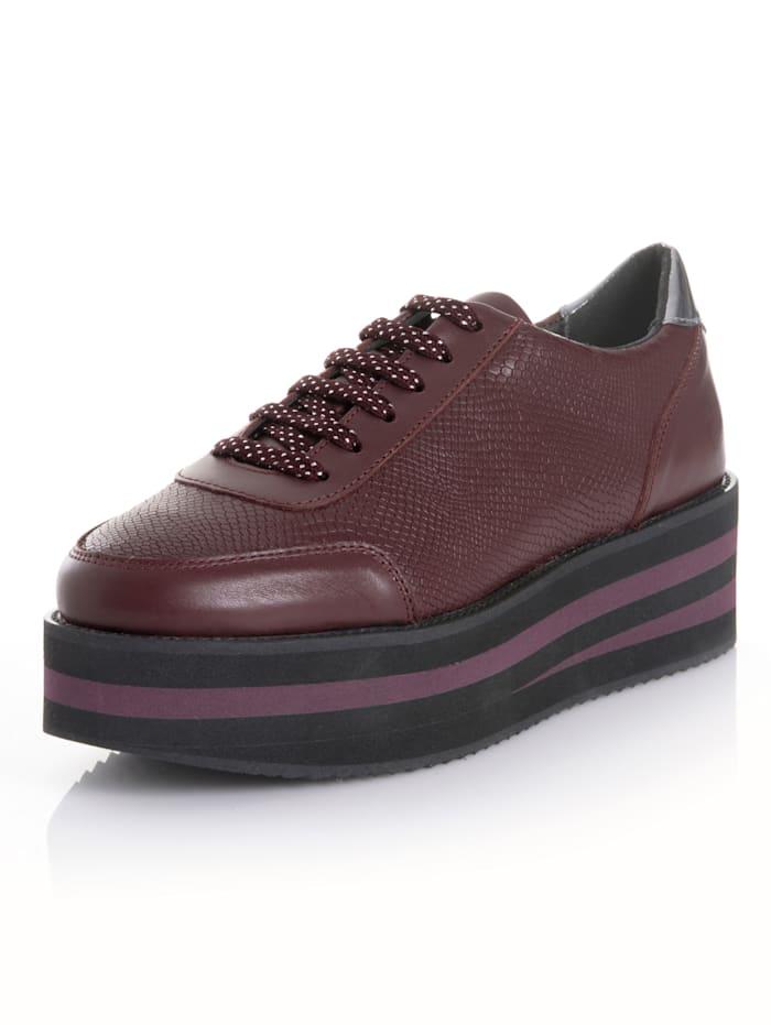 Alba Moda Sneaker mit trendiger Plateausohle, Bordeaux