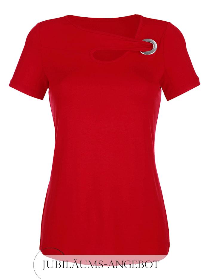 Alba Moda Shirt mit modischem Ausschnitt, Rot