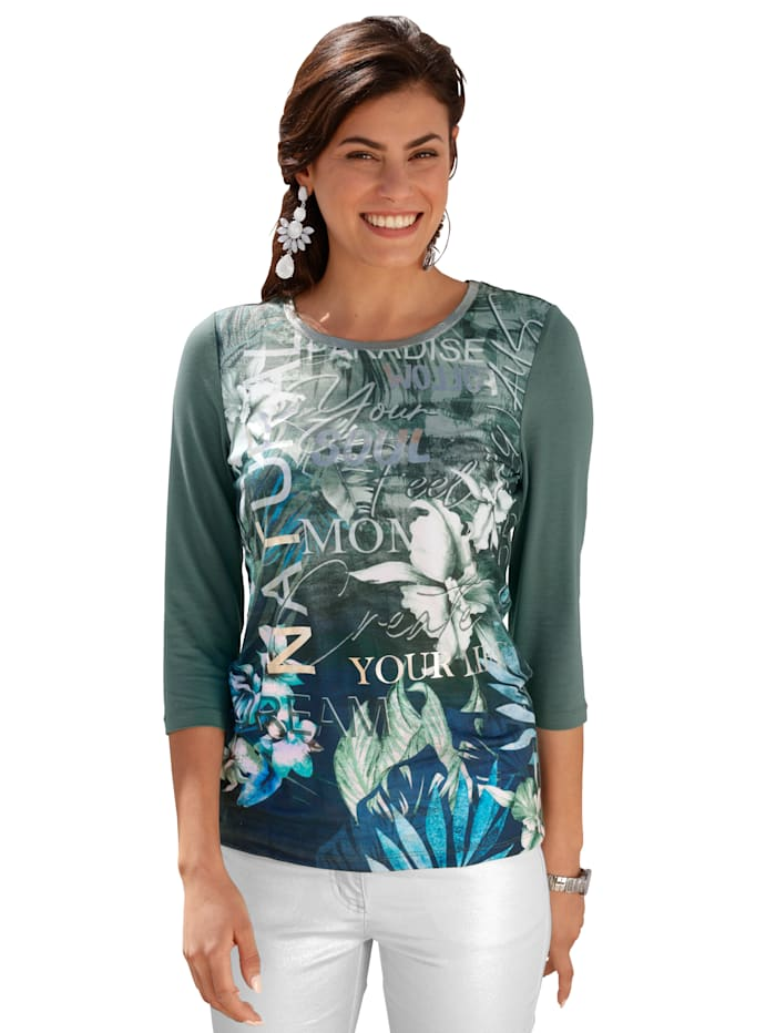 AMY VERMONT Shirt mit Blätterdruck, Grün